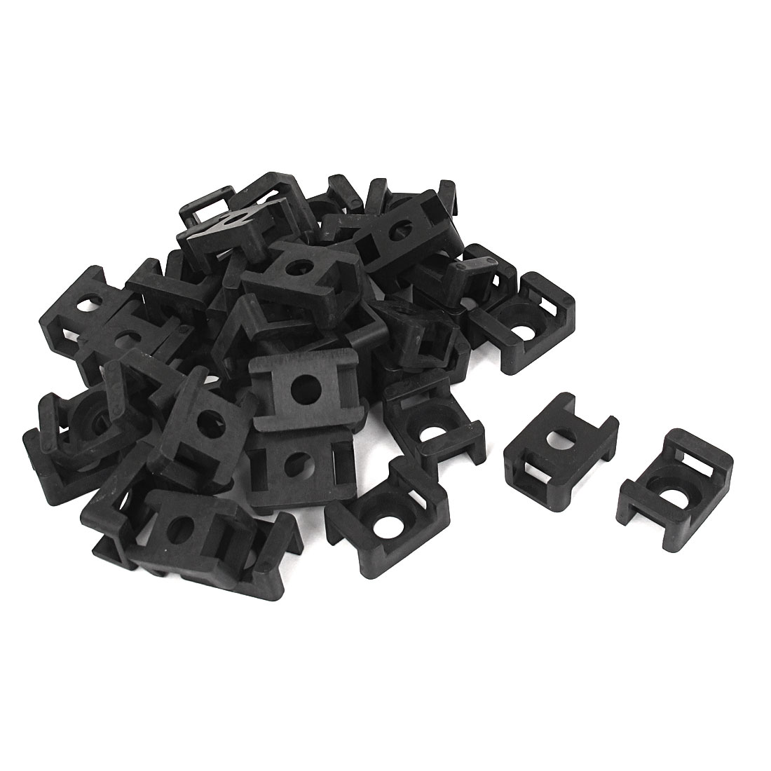 40 Pcs Plastic Wire Cable Tie Screw Fit Saddle Mountings 9mm Max Width