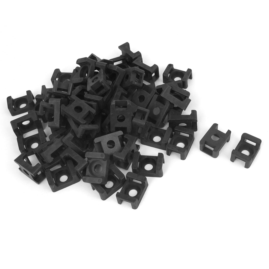 90 Pcs Plastic Wire Cable Tie Screw Fit Saddle Mountings 9mm Max Width