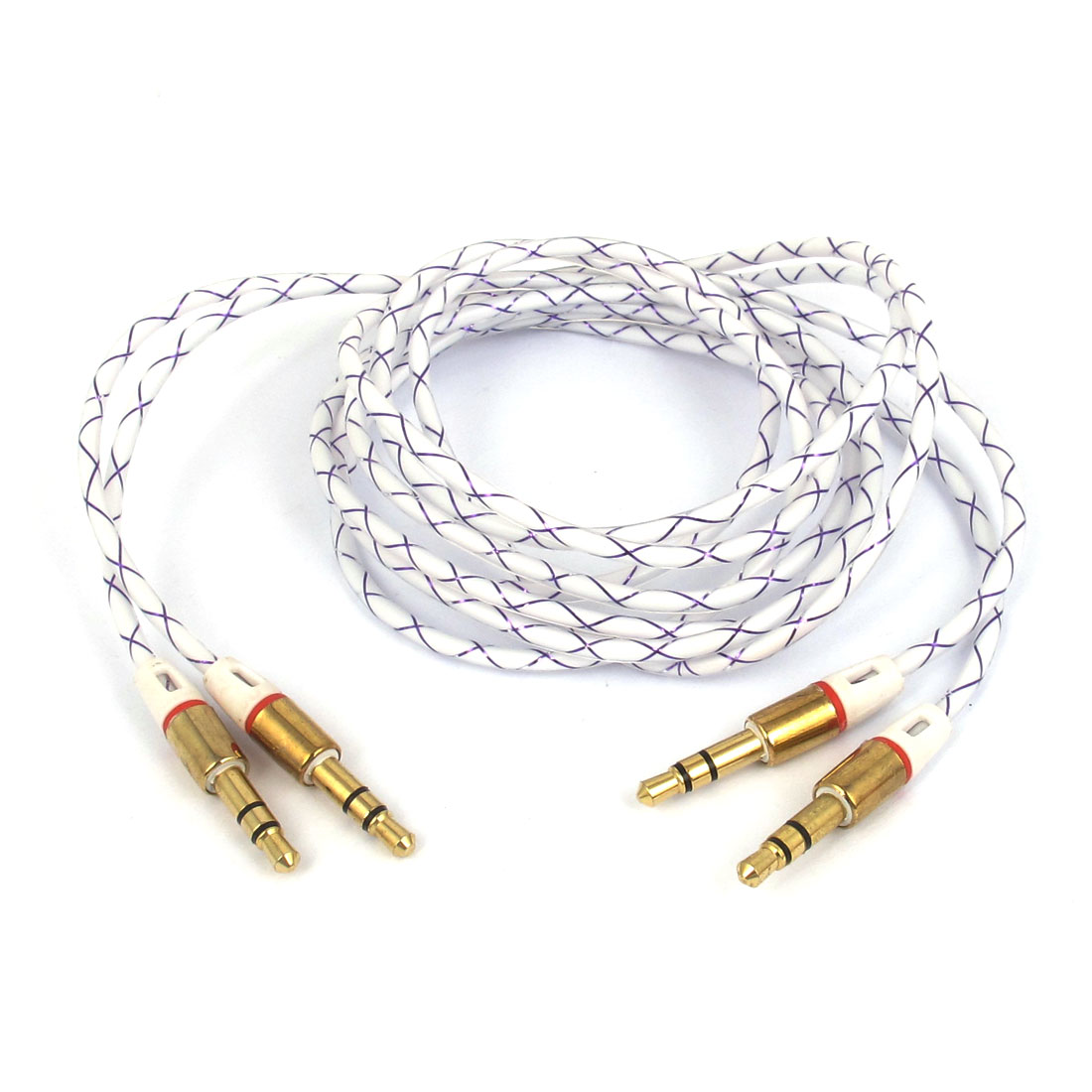 2pcs 3.3Ft Long 3.5mm Male to 3.5mm Male Audio Round Extension Cable Cord Purple Clear