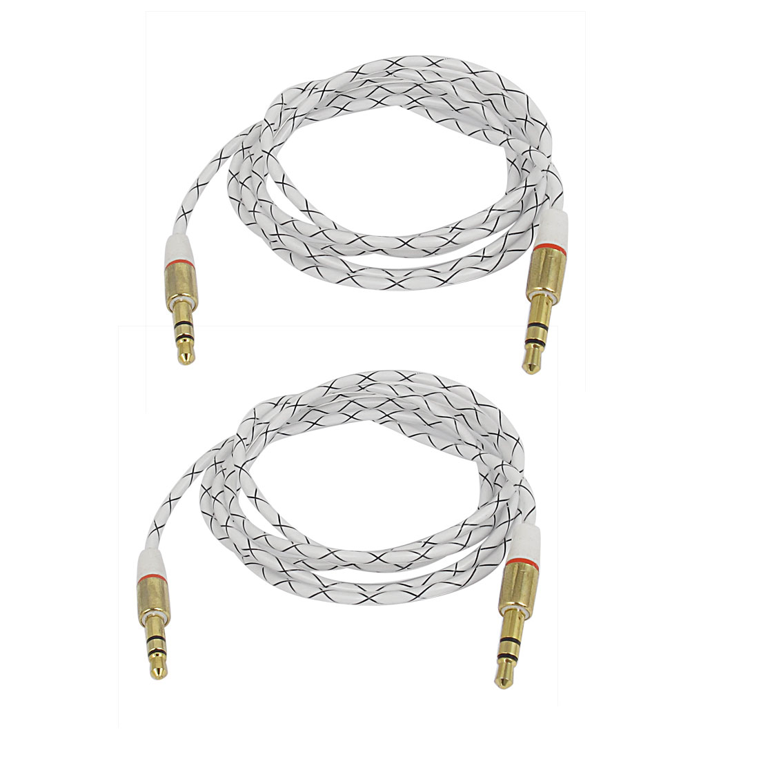 2pcs 3.3Ft Long 3.5mm Male to 3.5mm Male Audio Round Extension Cable Cord Black Clear
