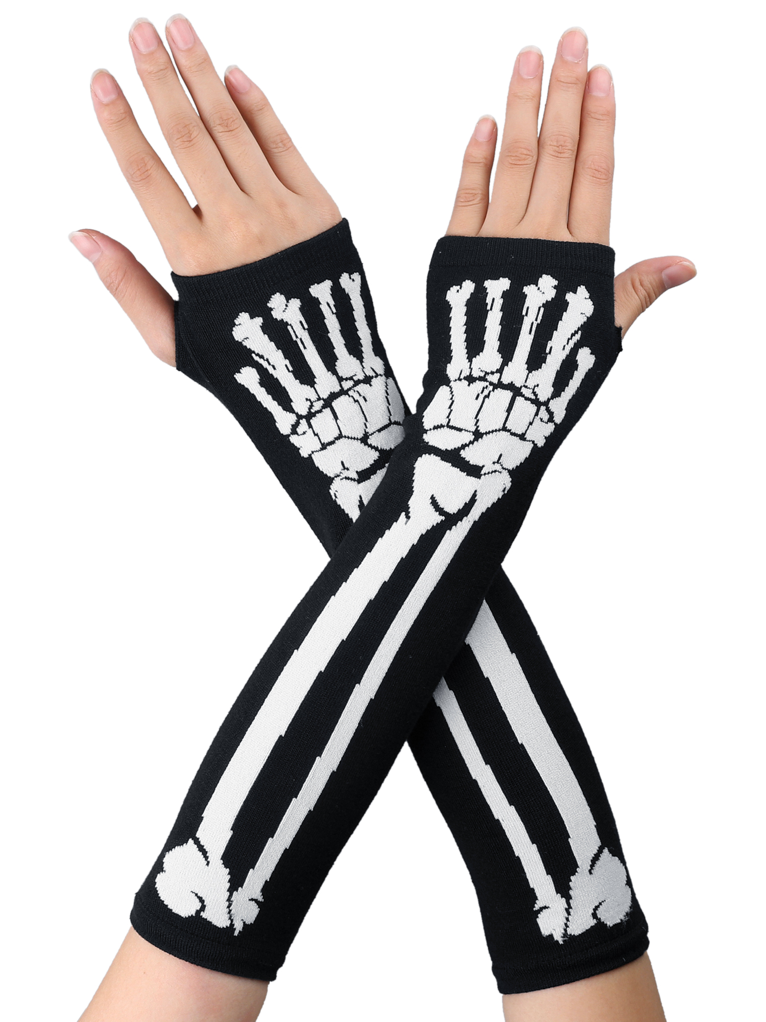 Women Bone Pattern Knitting Thumbhole Winter Fingerless Arm Long Gloves Black