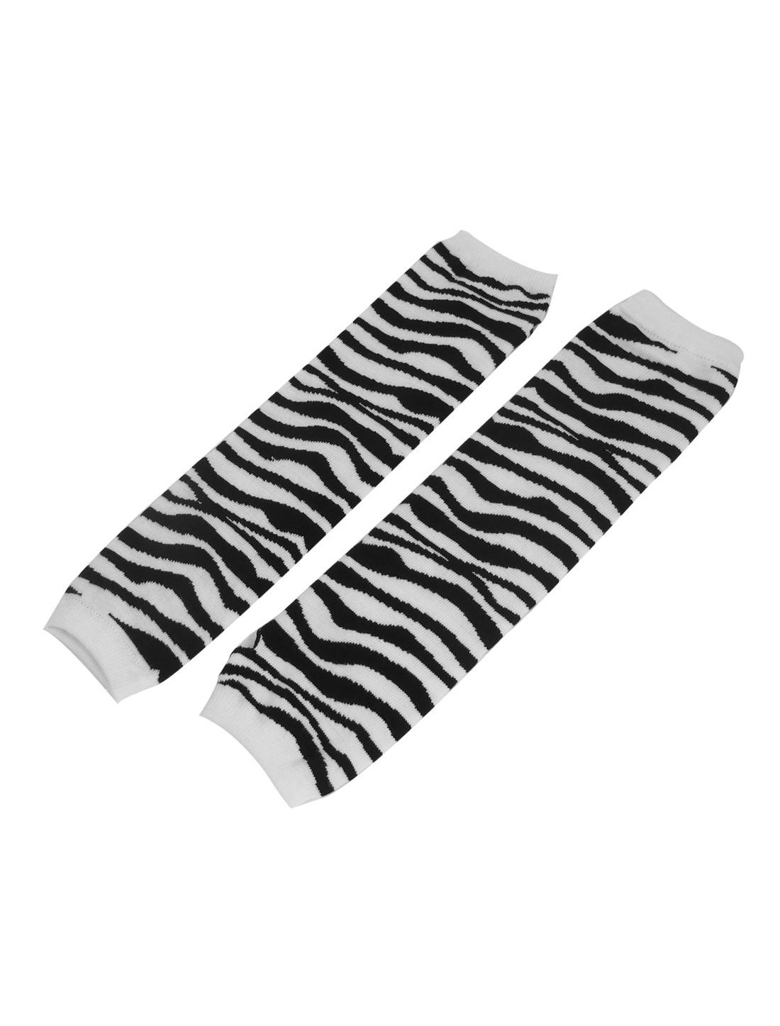 Woman Zebra Print Winter Fall Warmer Fingerless Arm Gloves Black White