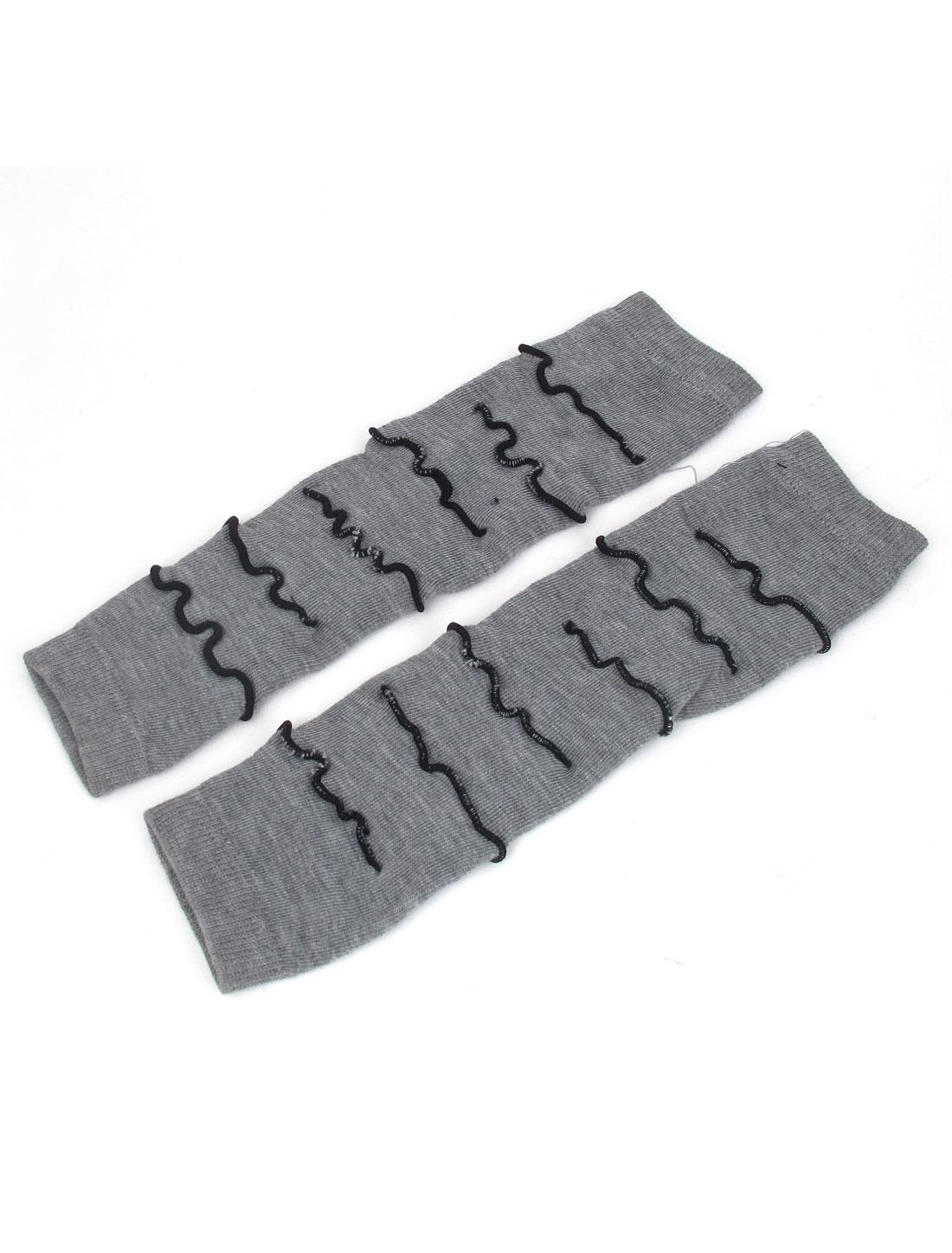 Pair Gray Winter Fall Fingerless Arm Warmers Elbow Long Gloves for Women