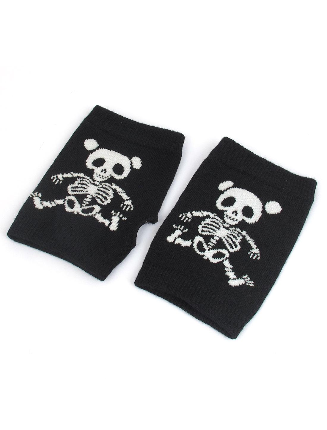 Pair Skull Pattern Stretchy Knitting Fingerless Warm Gloves Black