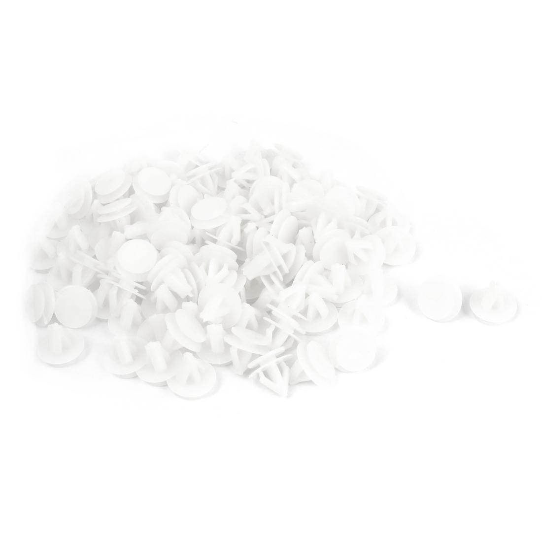100Pcs Plastic Rivet Automobile Door Fender Trunk Clips Fastener White