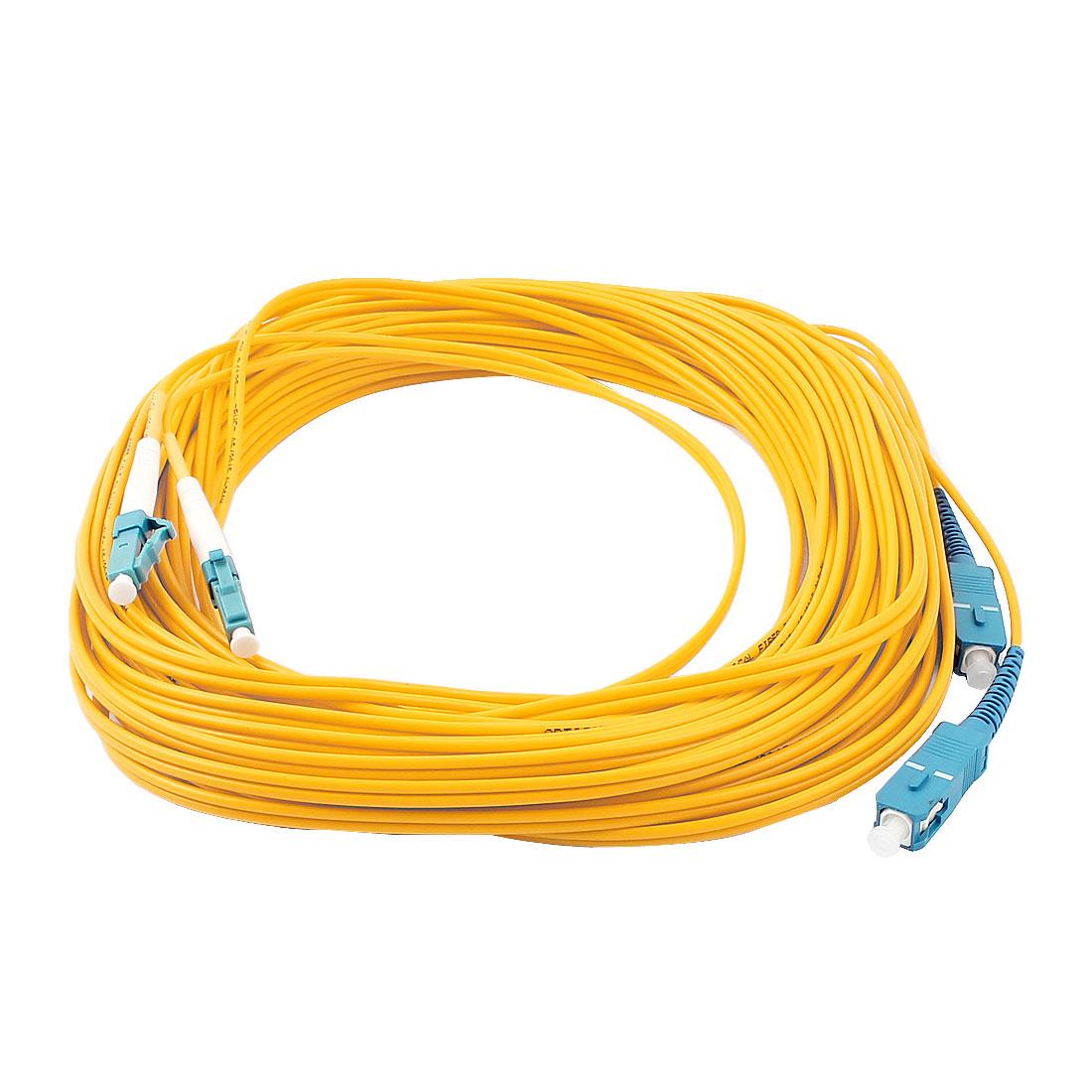 15M 49Ft Jumper Cable Duplex Singlemode SC-LC Fiber Optic Patch Cord