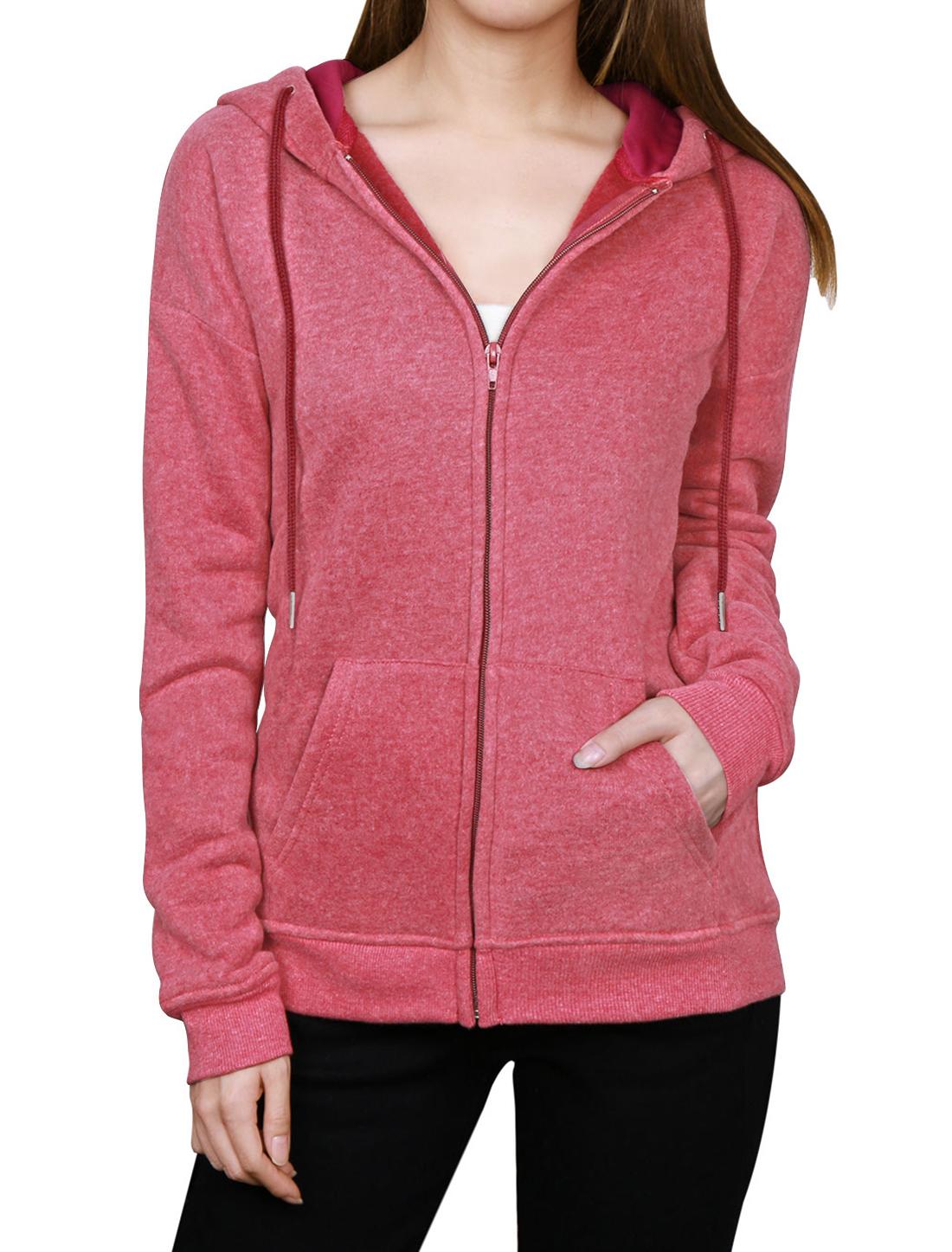 Woman Kangaroo Pocket Zip Up Long Sleeves Drawstring Hoodie Red XS