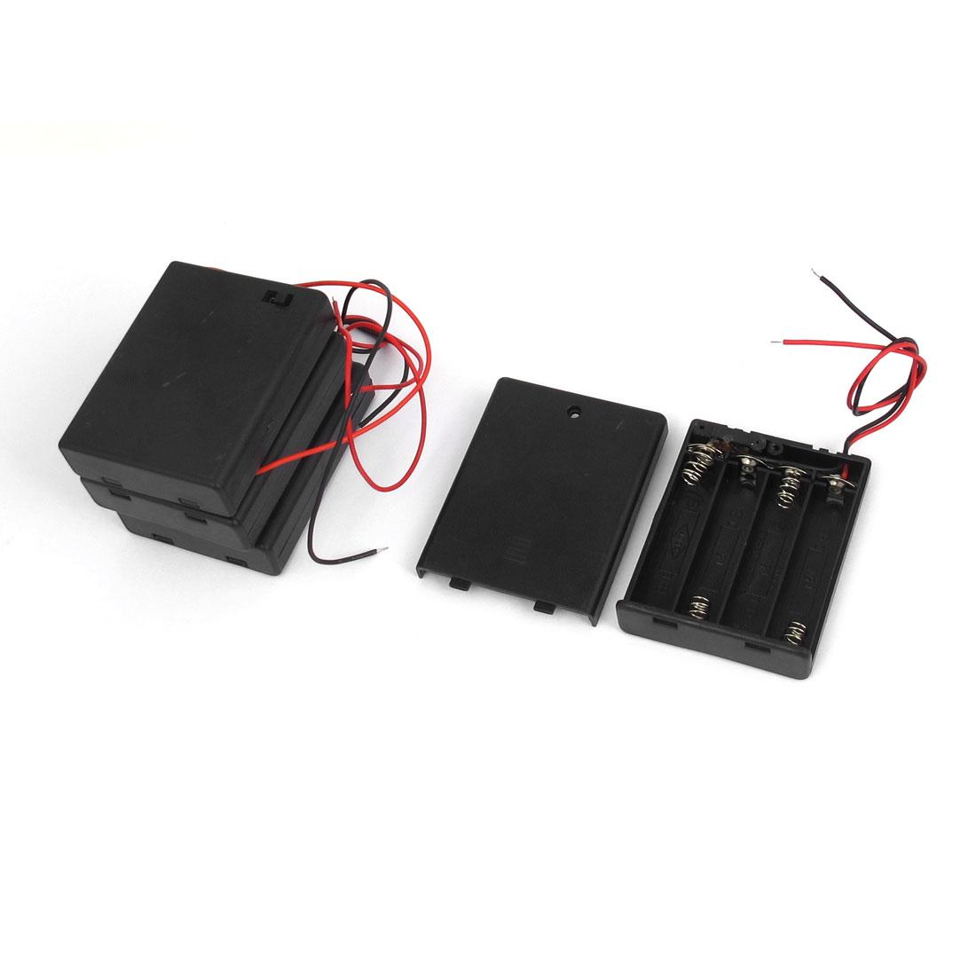 Plastic Housing 4 x 1.5V AA Battery Holder Storage Case Box ON/OFF Switch Black 4pcs