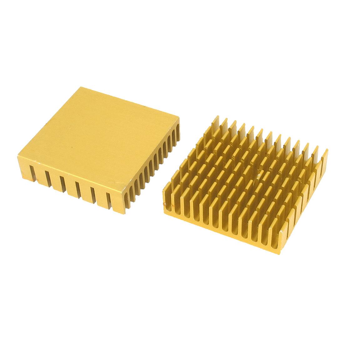 2pcs 40mm x 40mm x 11mm Radiator Heatsink Heat Sink Diffuse Aluminium Cooling Fin Gold Tone