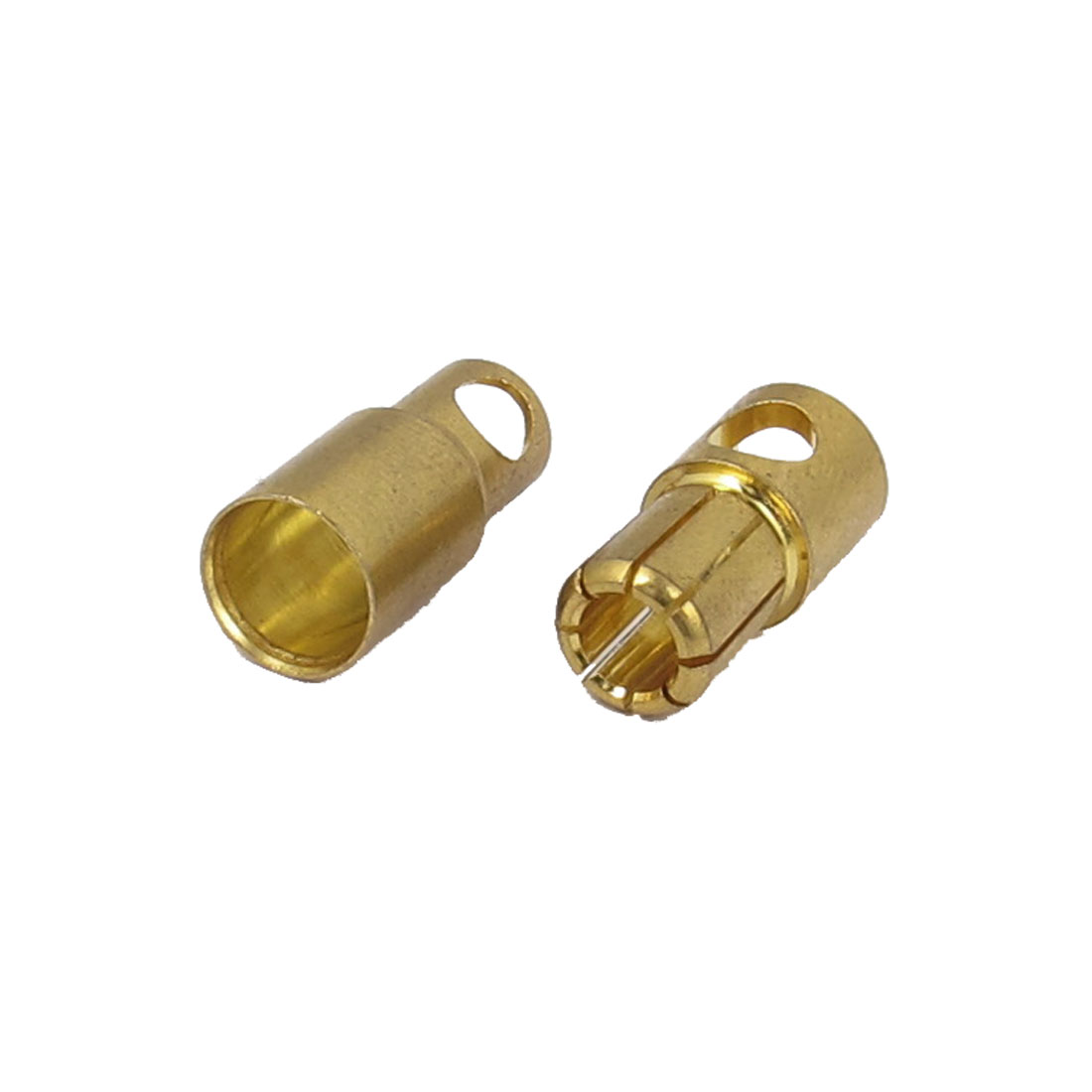 Pair 6mm Gold Tone Metal Banana Female Male Connector Adapter for RC Helicopter