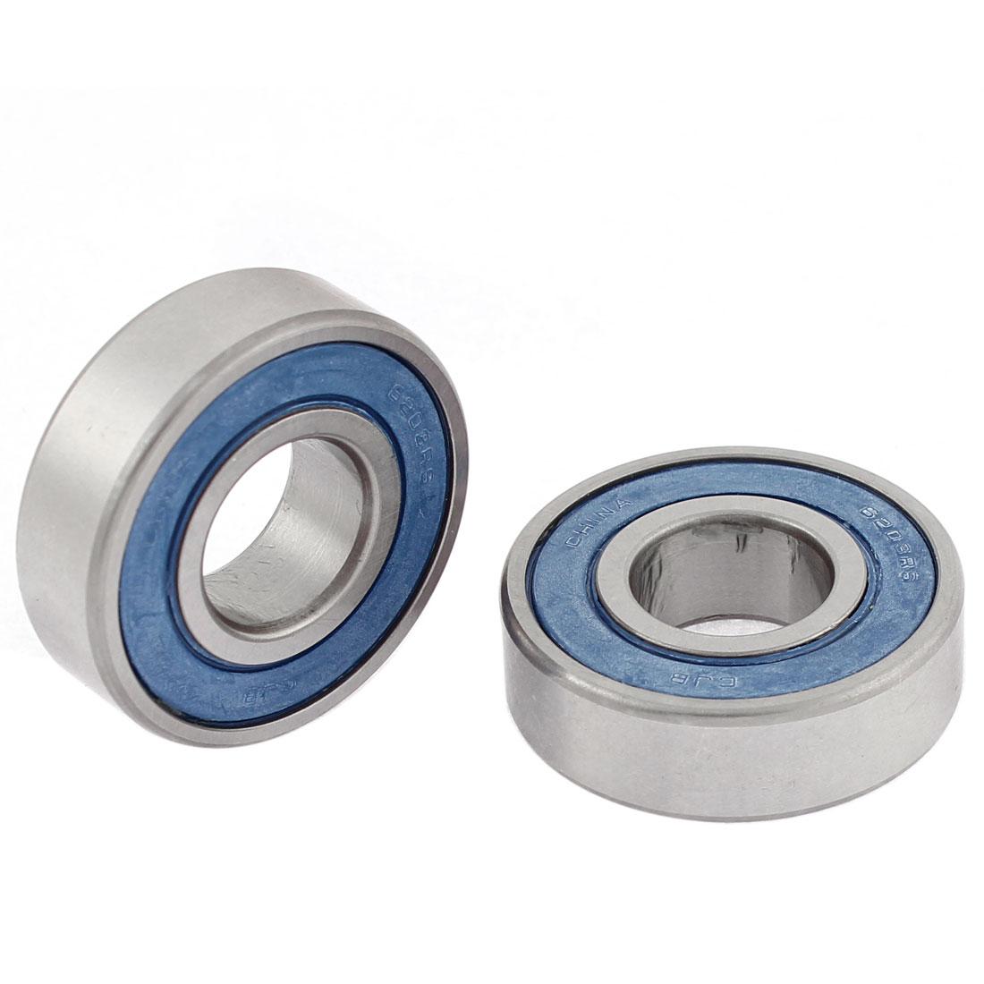 6203RS Deep Groove Ball Wheel Bearings Silver Tone Blue 17mm x 40mm x 12mm 2 Pcs
