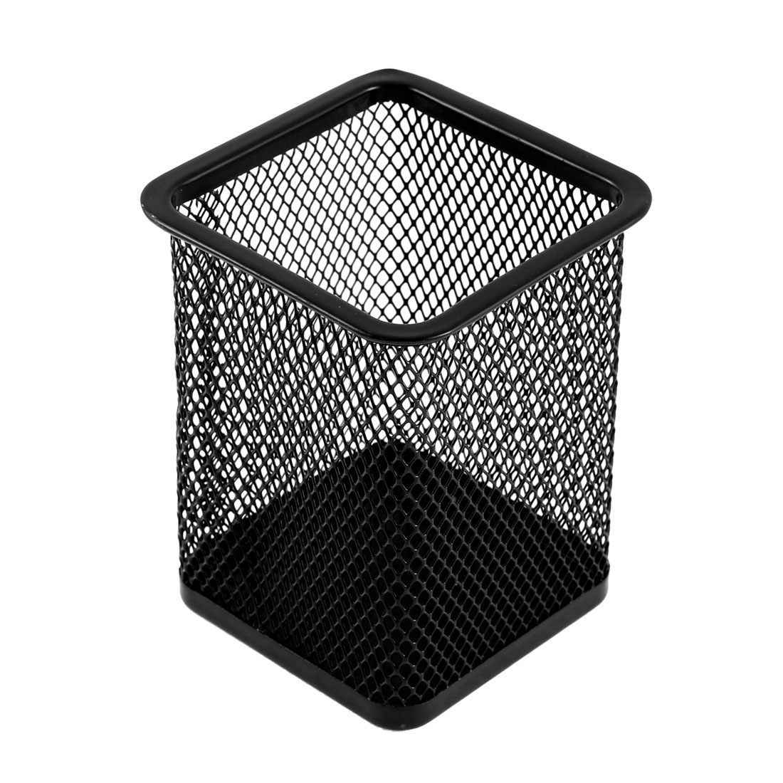 Office Desk Metal Meshy Square Shaped Pen Pencil Holder Organizer Container Black