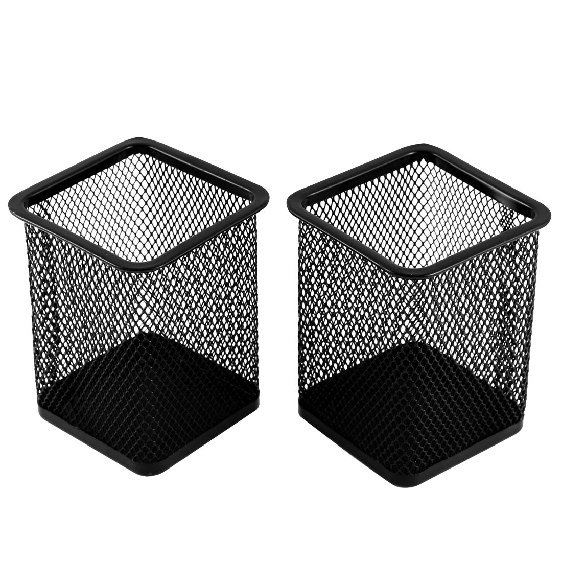 Home Office Square Design Pen Pencil Pot Holder Container Organizer Black 2pcs