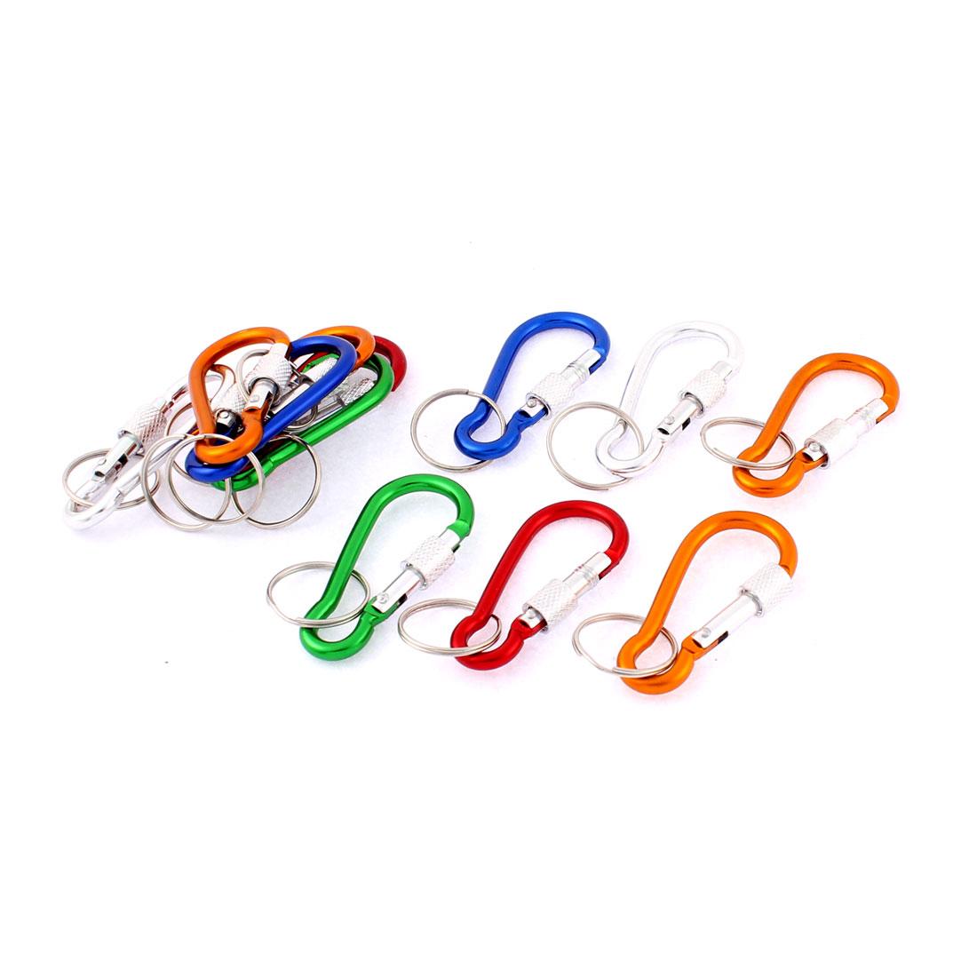 Spring Loaded Screw Locked Carabiner Clip Keychain Keyring Key Holder 12pcs