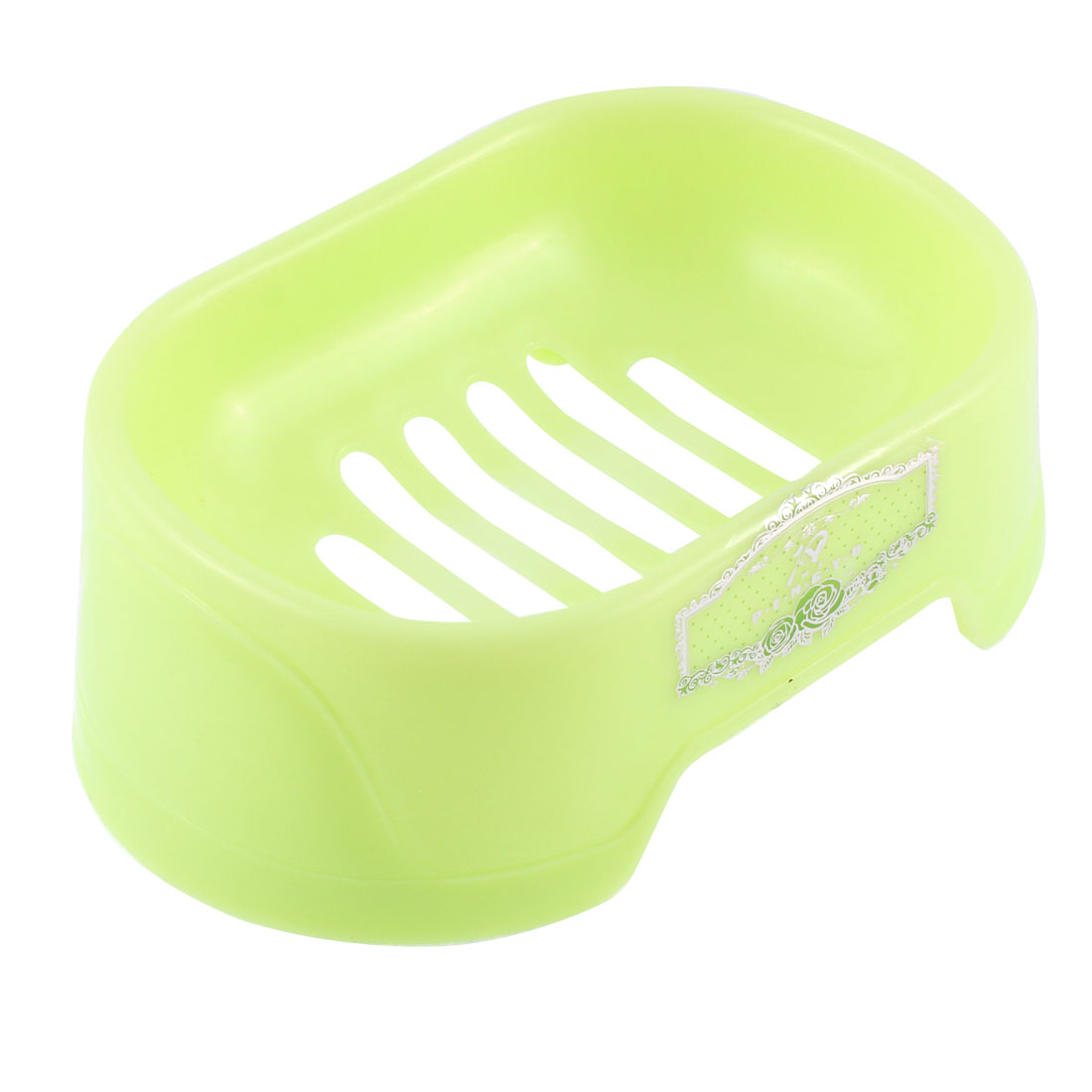 Washroom Plastic Rectangular Shaped Soap Dish Holder Container Box Case Light Green