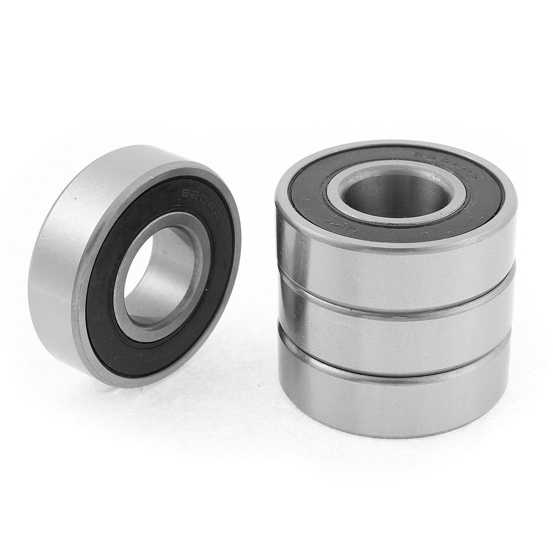 6204RS Rubber Shielded Deep Groove Ball Bearing 20mm x 47mm x 14mm 4pcs