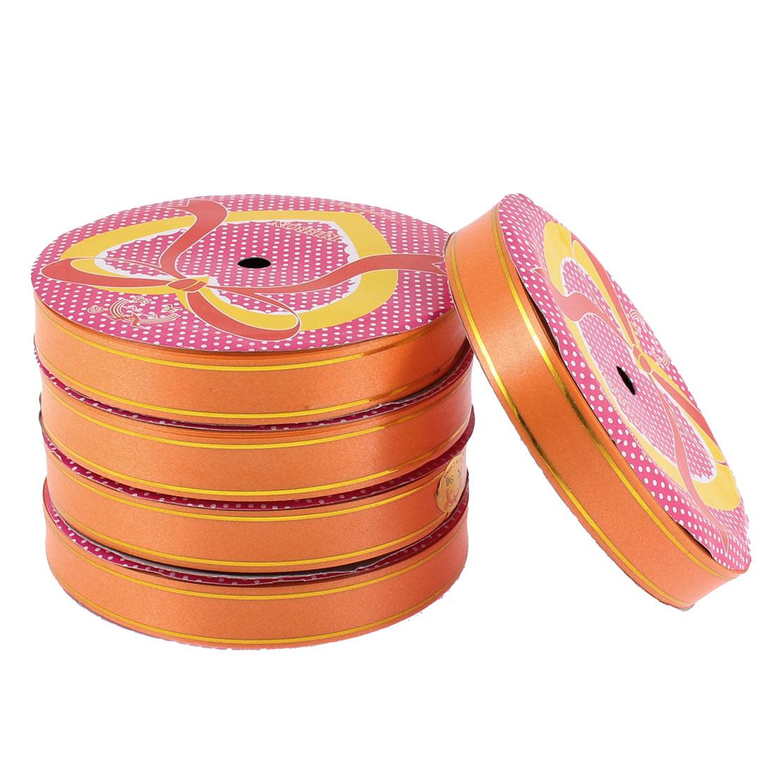 DIY Packing Polyester Satin Ribbon Roll Tape Orange 1.5cm Width 16 Yards 5pcs