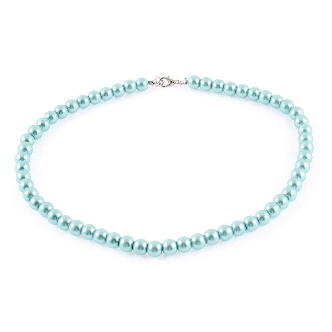Woman Metal Clasp Imitation Pearl Beaded Linked Necklace Neck Ornament Teal Blue