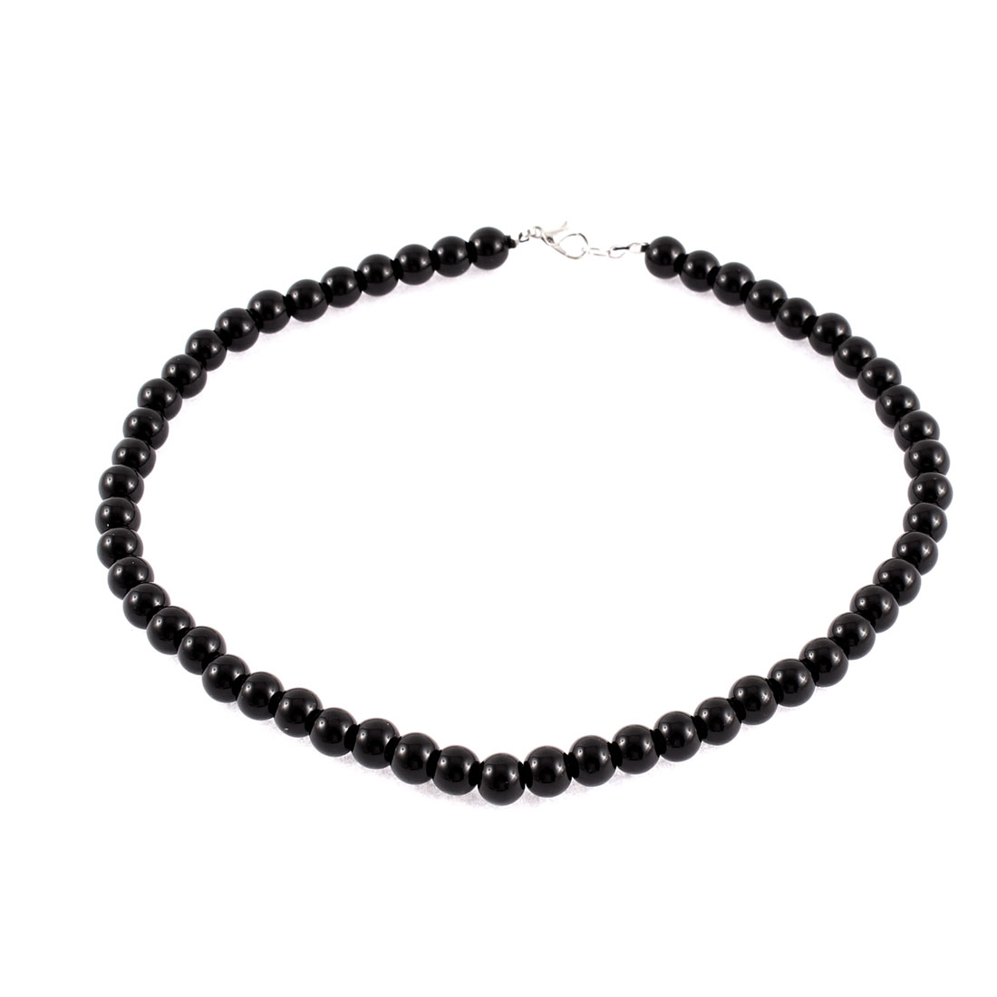 Wedding Party Women Imitation Pearl Chain Neck Ornament Necklace Black