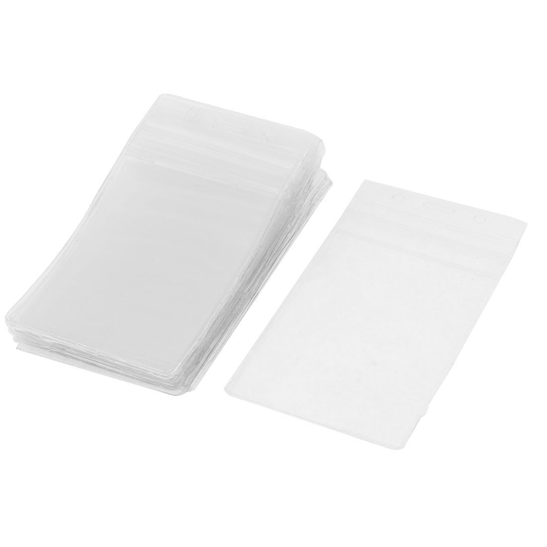 Office Plastic Vertical Name Card ID Badge Holder Protector Pouch Clear 20pcs