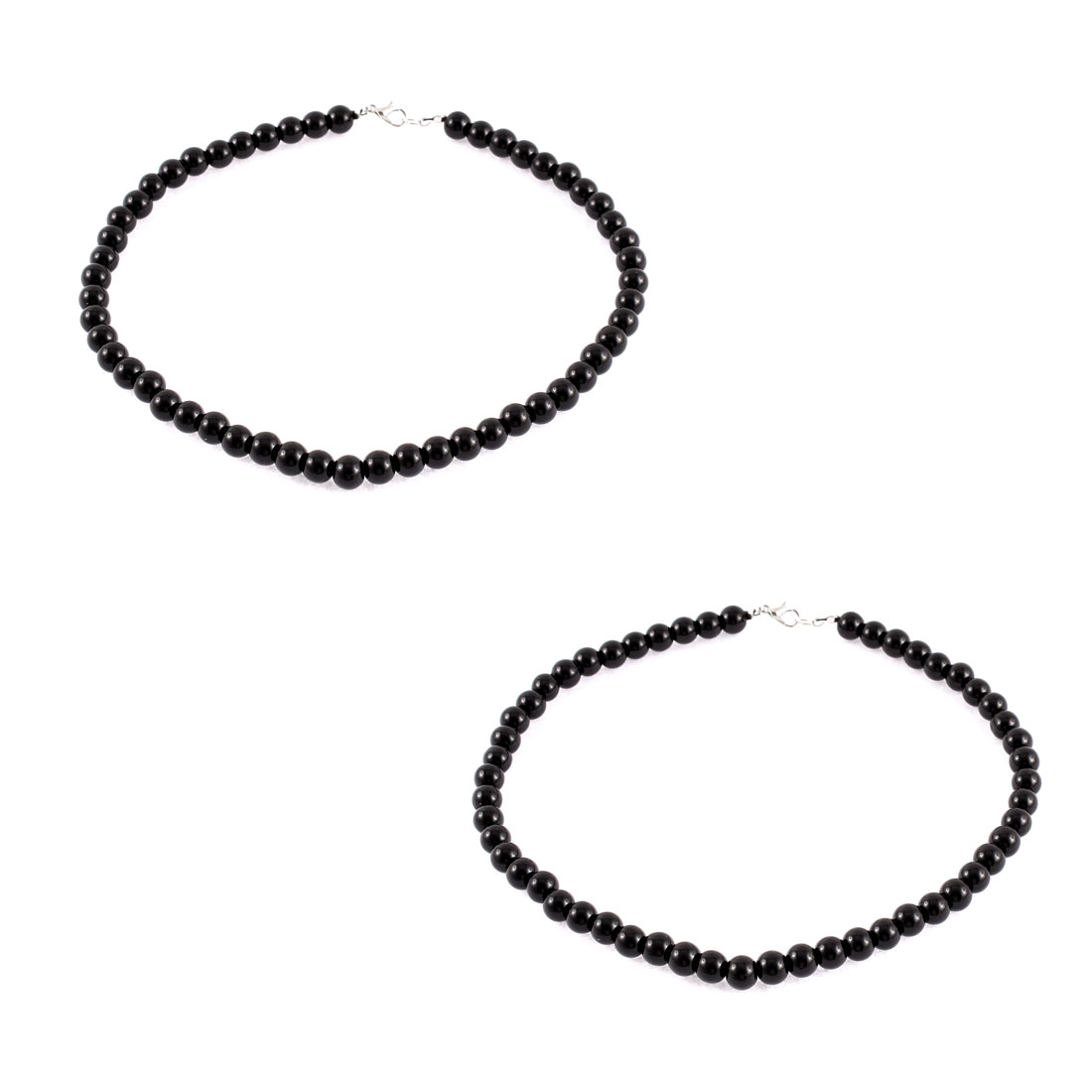 Party Lady Round Imitation Pearls Beaded Linked Necklace Chain Neck Decor Black 2pcs