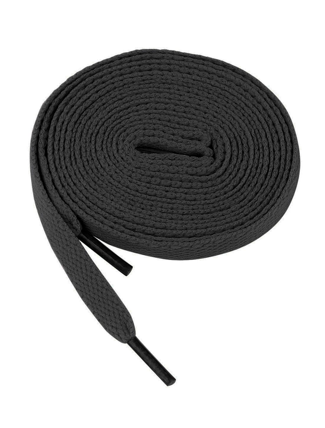 Unisex Cotton Blends Sneakers Flat Bootlaces Shoelaces Black 2 Pairs
