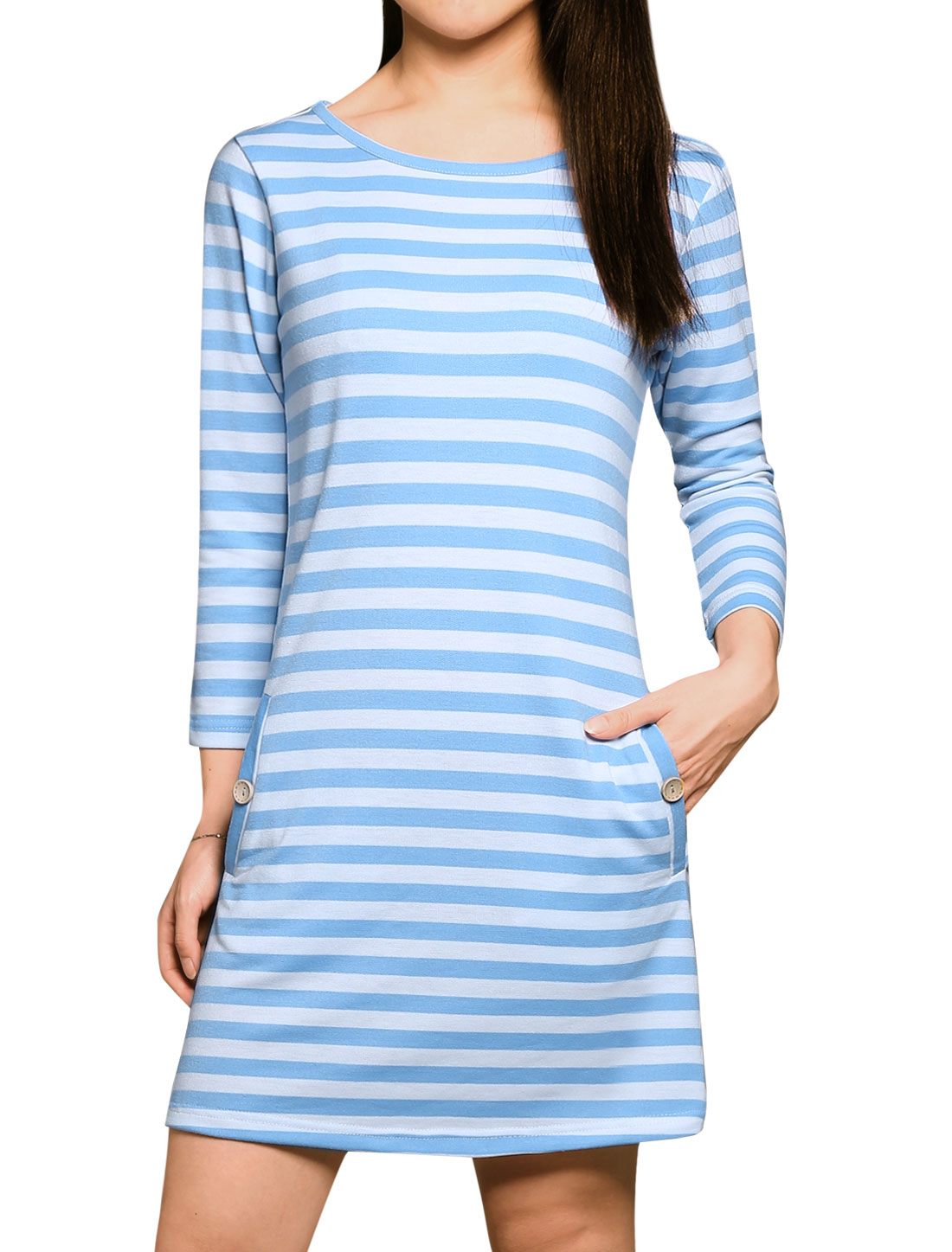Woman Stripes 3/4 Sleeves Slant Pockets Front Unlined Mini Dress Blue XL