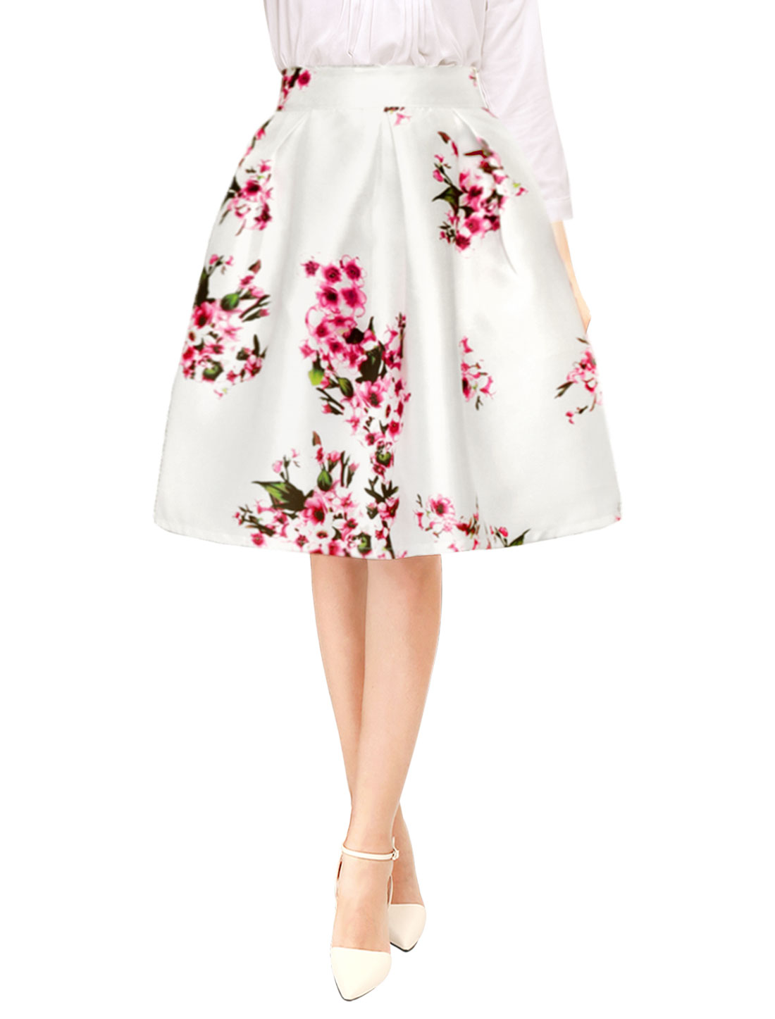 Ladies Flower Prints Concealed Zipper Pleated Midi A Line Skirt White XL