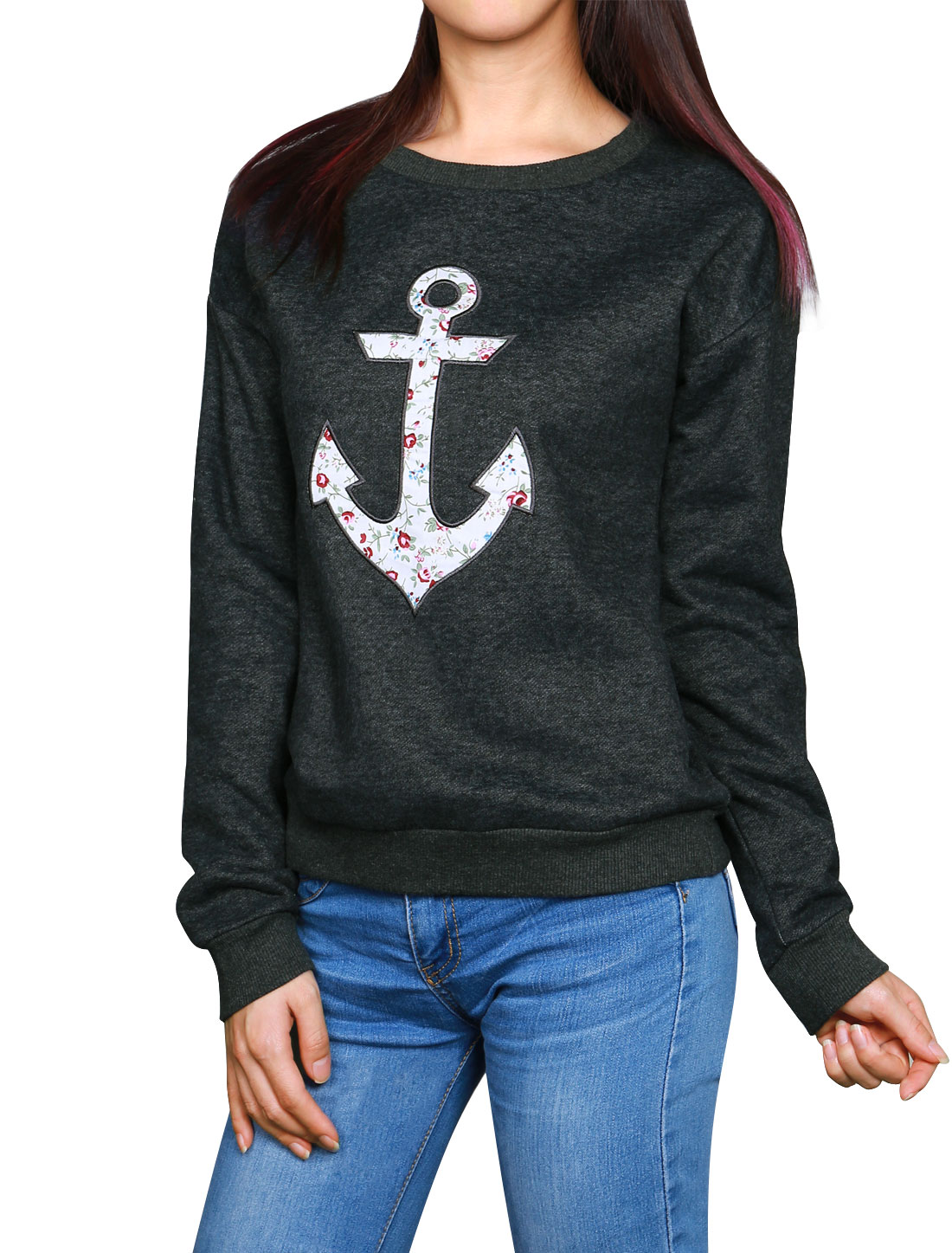 Woman Floral Anchor Applique Crew Neck Soft Lined Sweatshirt Gray XS