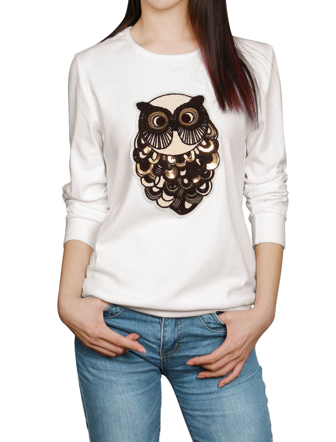 Woman Sequined Owl Applique Round Neck Long Sleeves Sweatshirt White XS