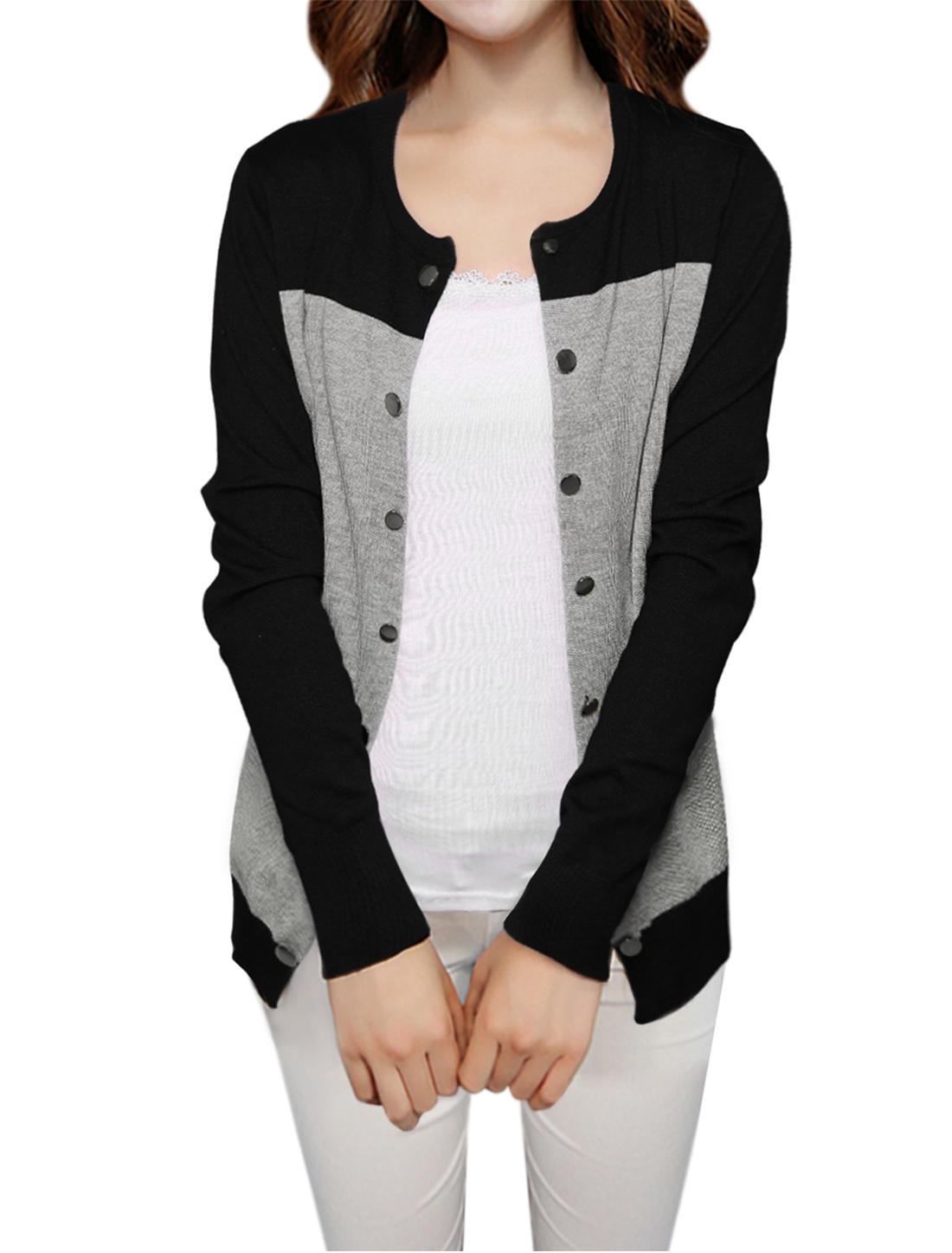 Women Color Block Round Neck Open Front Knit Cardigan Black Light Gray XL