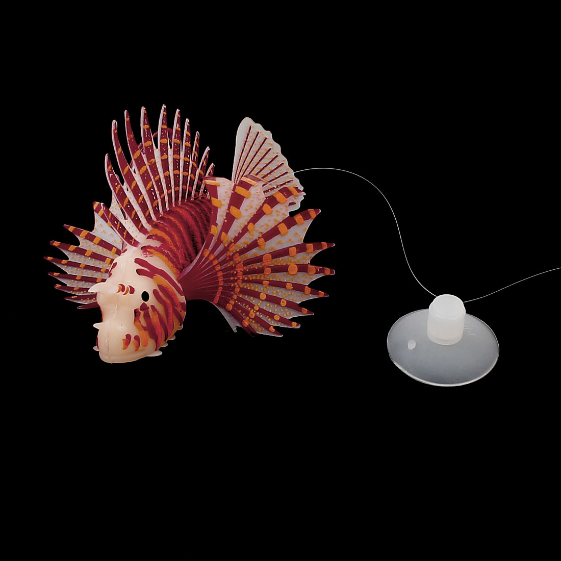 Soft Silicone Emulation Aquarium Fish Tank Luminous Lionfish Ornament Brown Orange