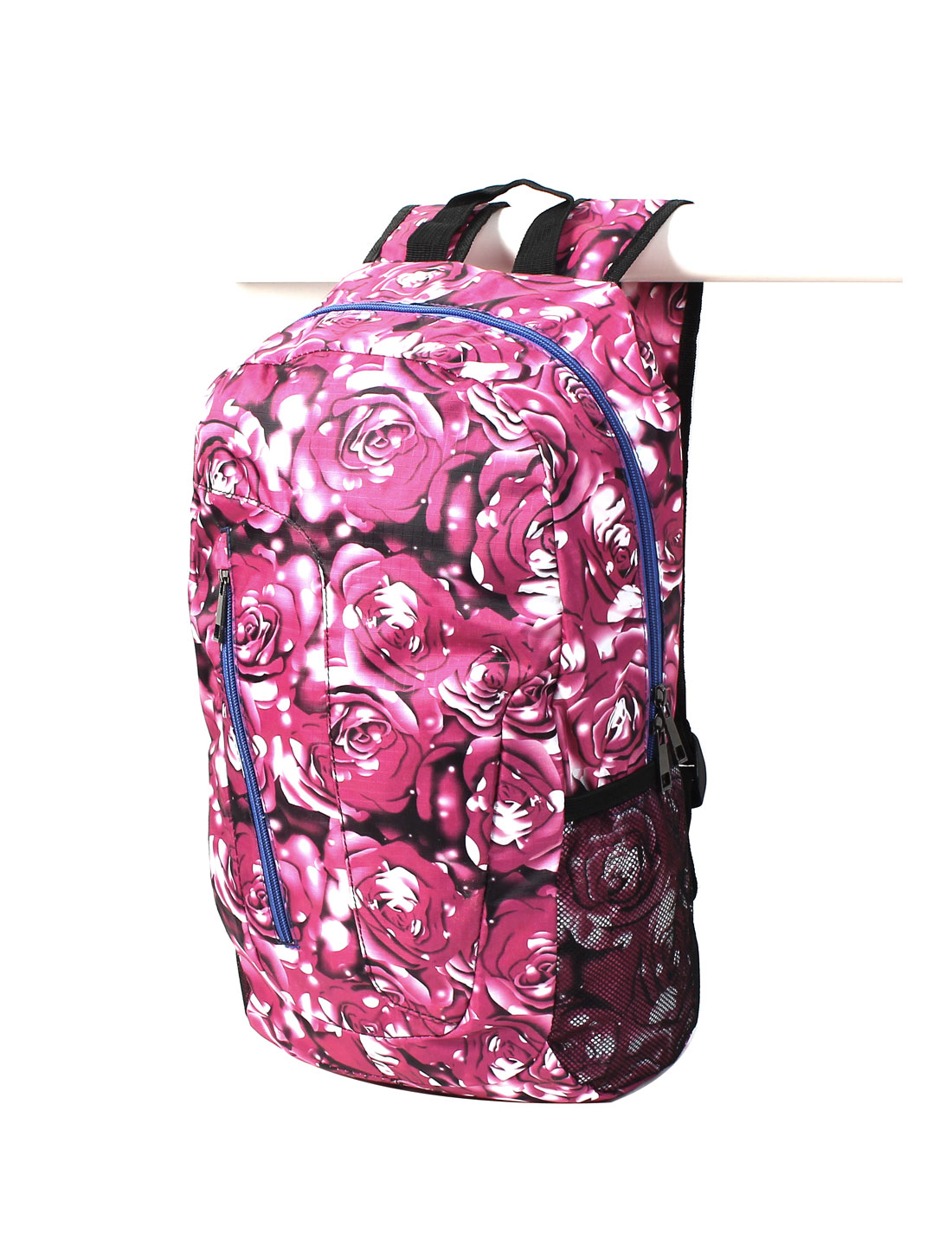 Fuchsia Florals Print Canvas Travel Camping Hiking Backpack School Shouder Bag