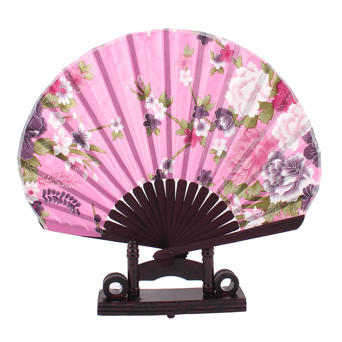 Chinese Wedding Party Favor Peony Print Wood Folding Hand Fan Purple Pink w Holder