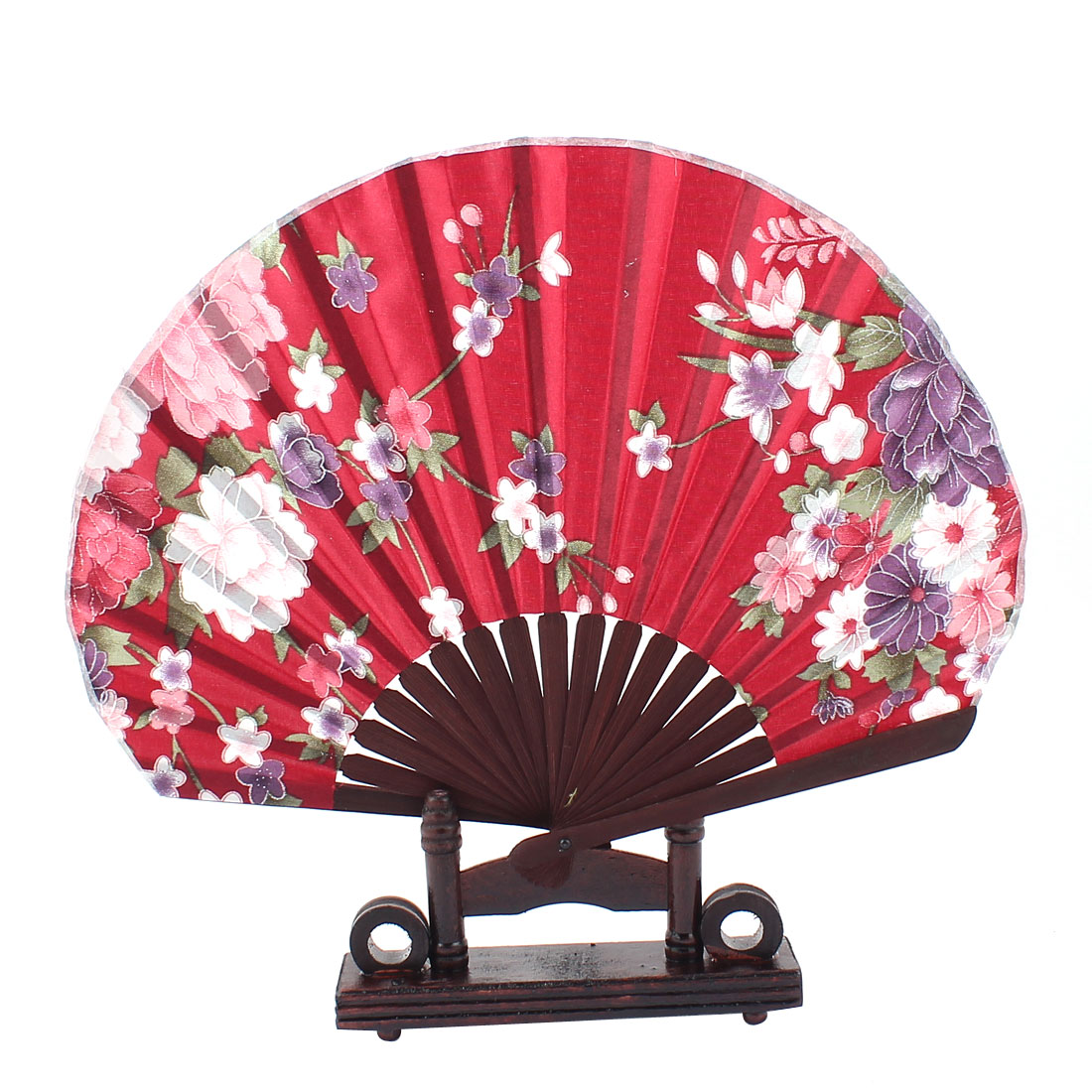 Chinese Wedding Party Foral Wood Folding Hand Fan Coffee Color Burgundy w Holder