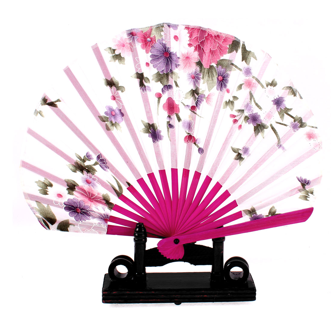 Chinese Bamboo Wood Daisy Pattern Folding Hand Fan w Display Holder