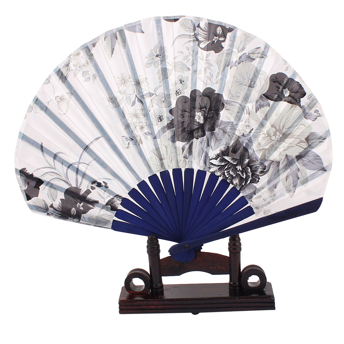 Bamboo Wedding Party Floral Folding Hand Fan Dark Blue w Display Holder