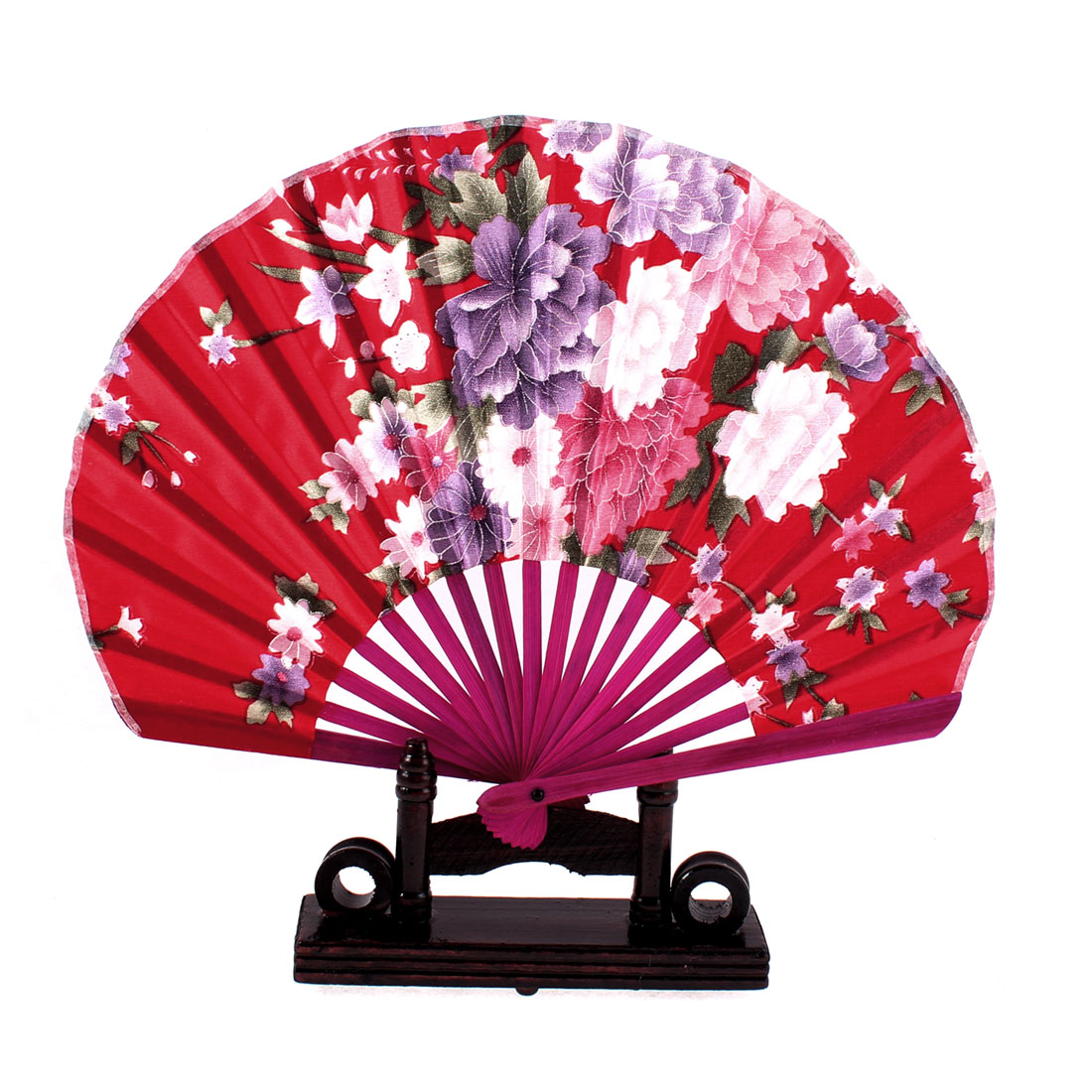 Chinese Bamboo Wood Peony Pattern Folding Hand Fan w Display Holder