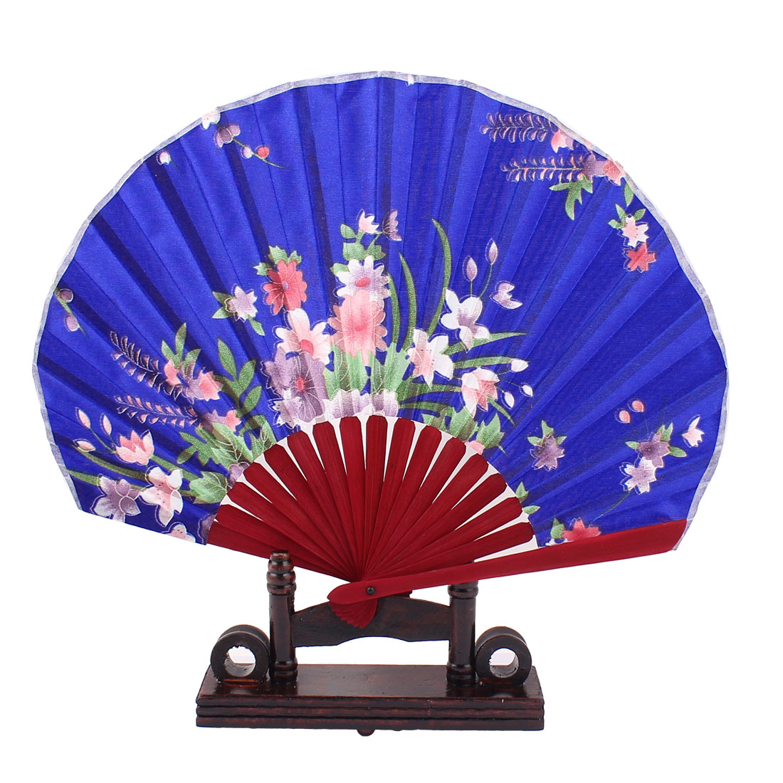 Chinese Wedding Favor Orchid Print Wood Folding Hand Fan Blue w Display Holder
