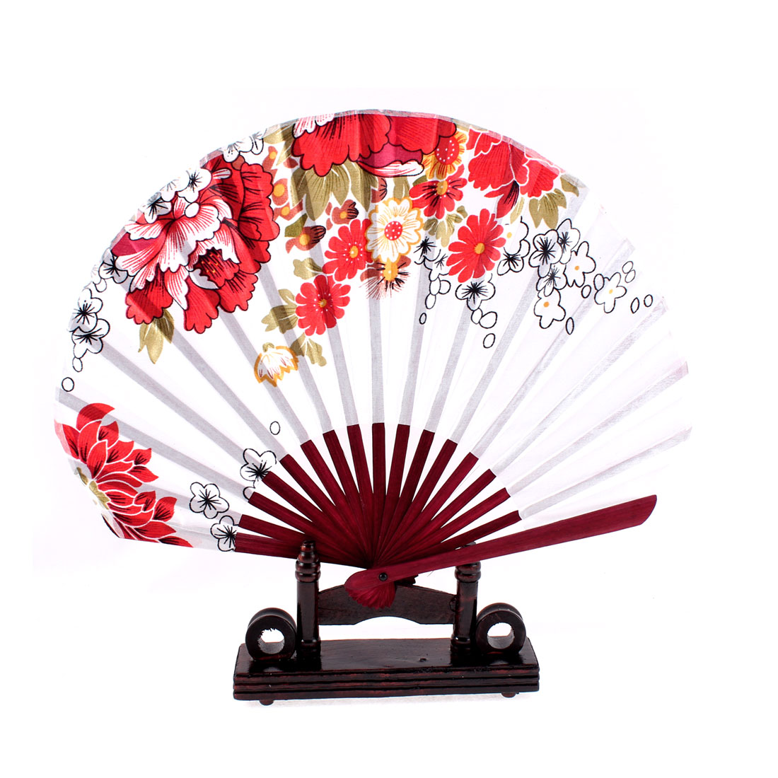 Sakura Flower Design Burgundy Chinese Fabric Folding Hand Fan w Display Holder