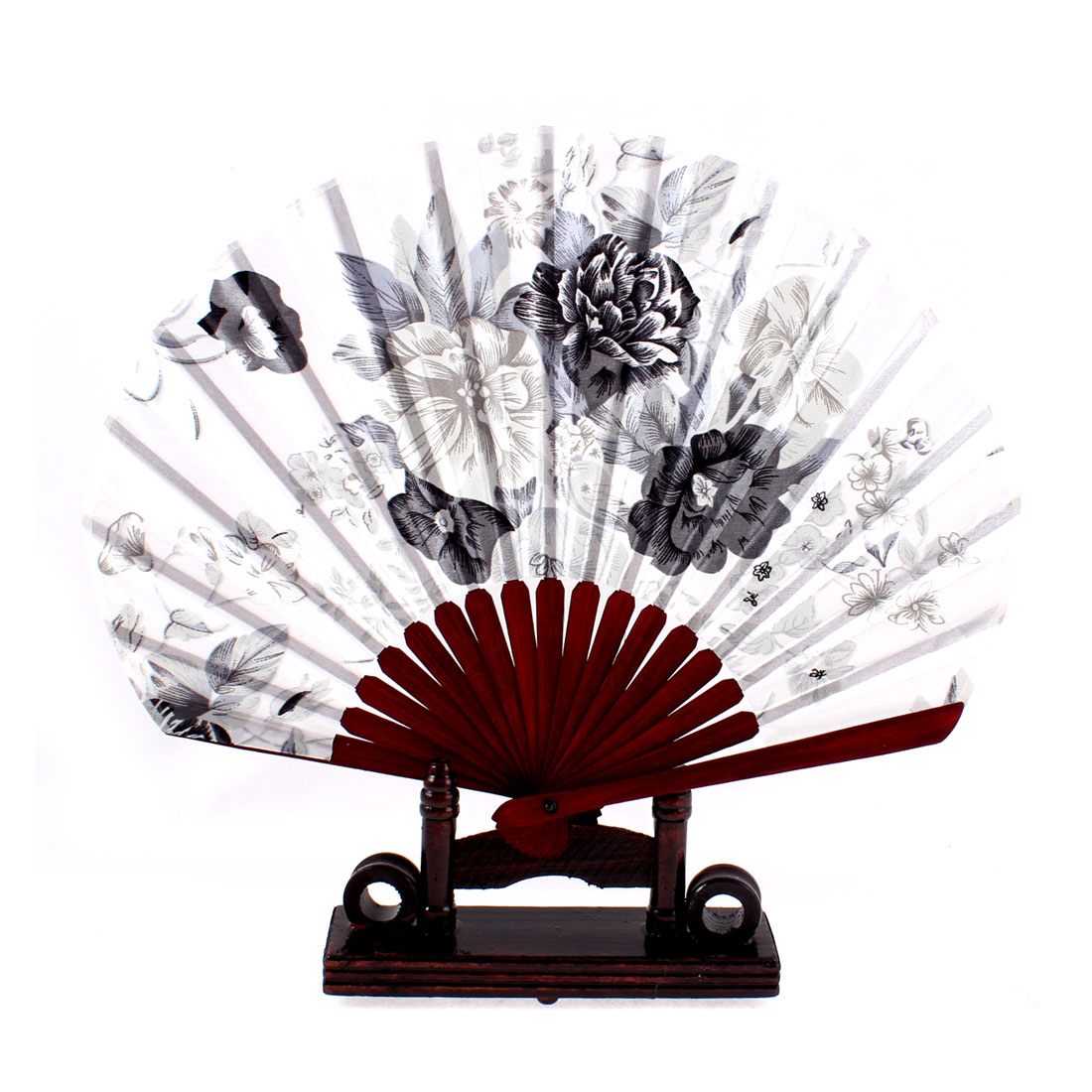 Peony Flower Design Burgundy Chinese Fabric Folding Hand Fan w Display Holder