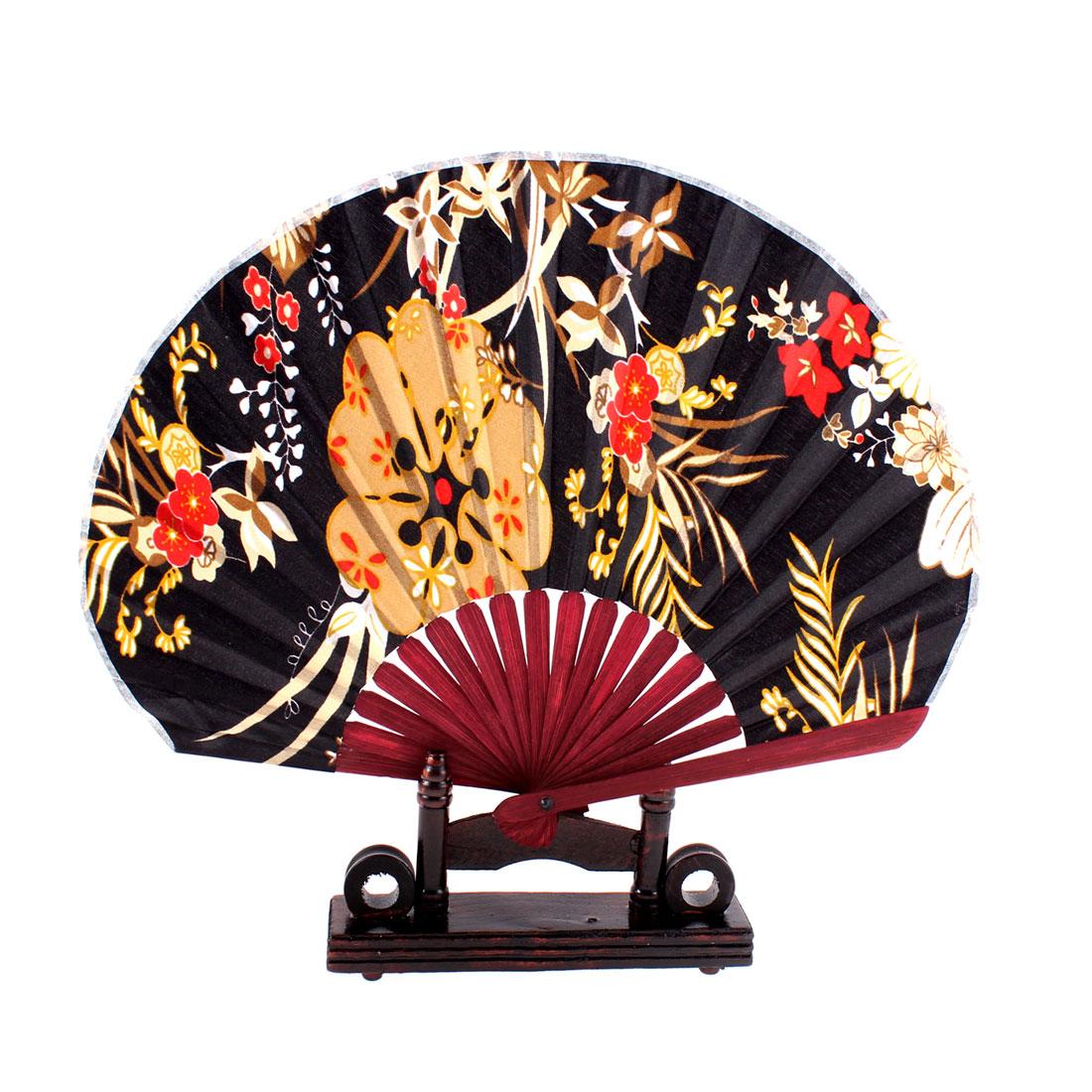 Plum Blossom Design Burgundy Chinese Fabric Folding Hand Fan w Display Holder