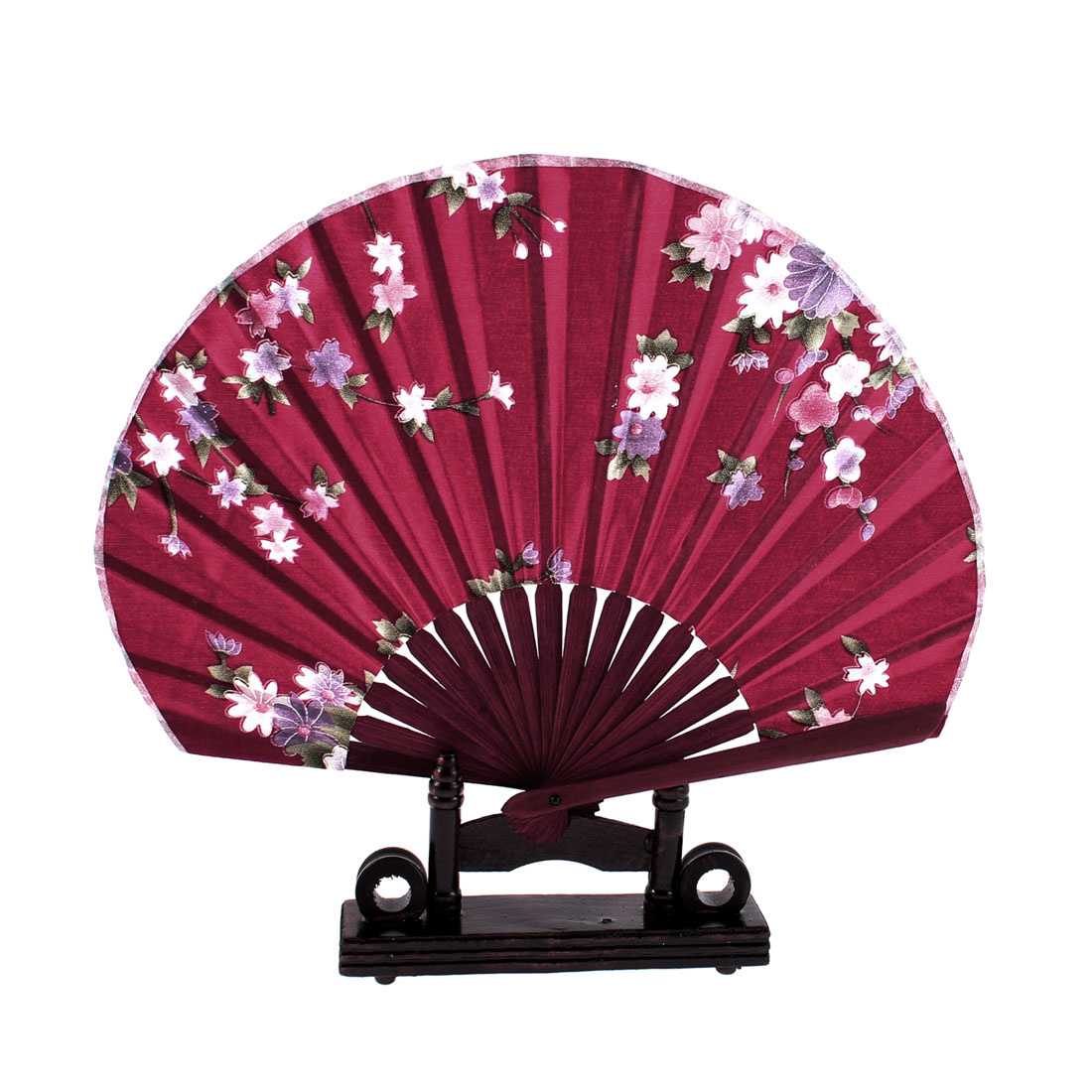 Daisy Flower Design Burgundy Chinese Fabric Folding Hand Fan w Display Holder