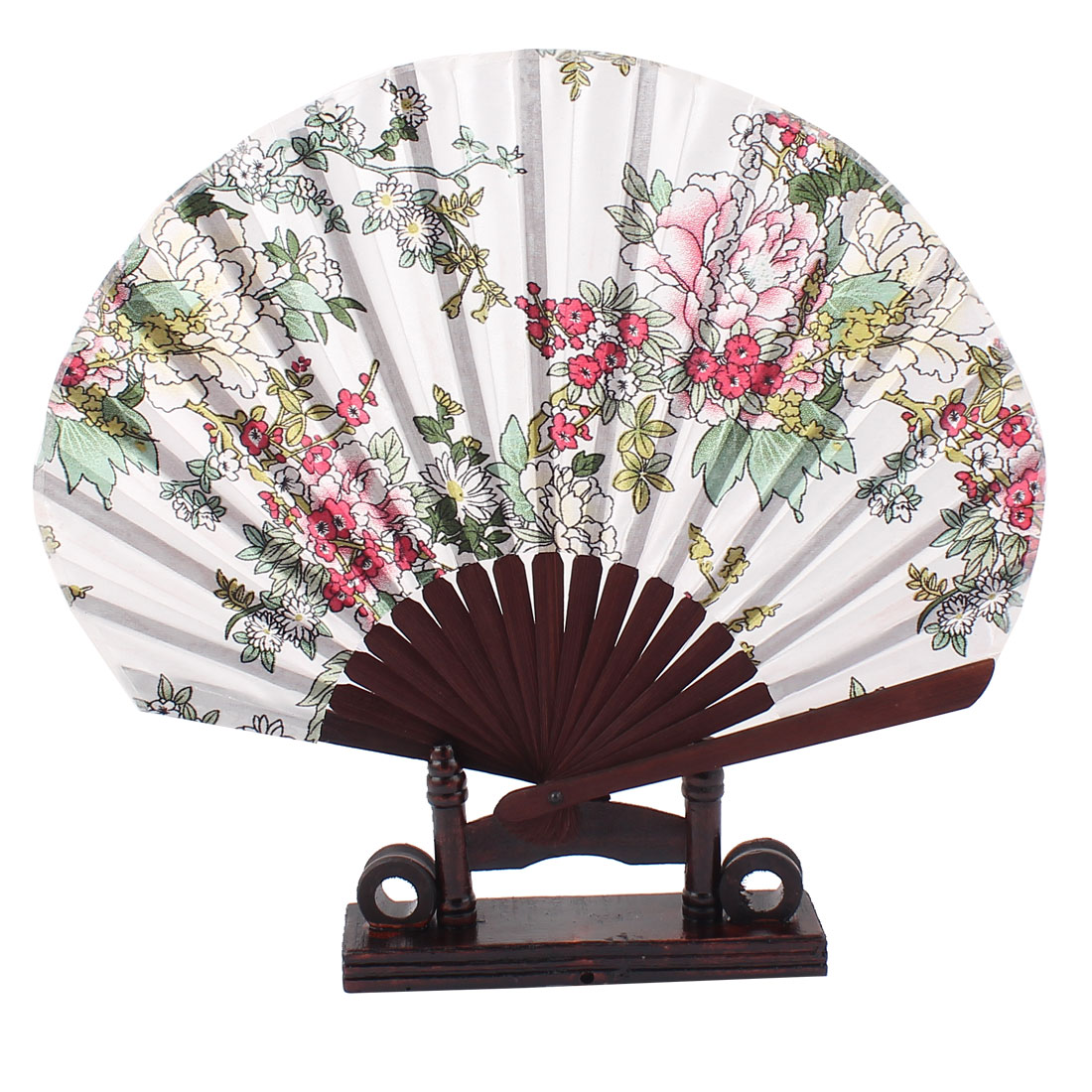 Chinese Wedding Party Favor Peony Print Wood Folding Hand Fan Colorful w Holder