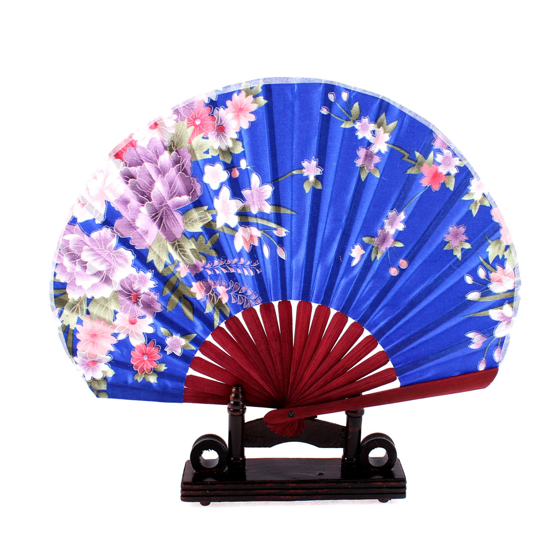 Chinese Bamboo Dark Blue Floral Folding Hand Fan w Display Holder