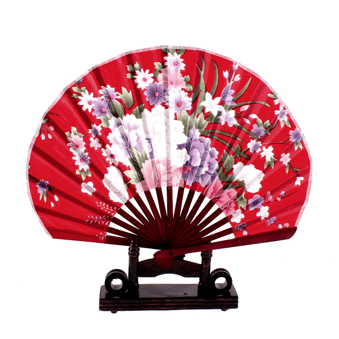 Chinese Bamboo Red Floral Folding Hand Fan w Display Holder
