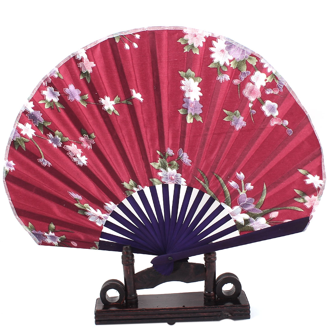 Chinese Painting Peach Floral Wood Folding Hand Fan Burgundy w Display Holder