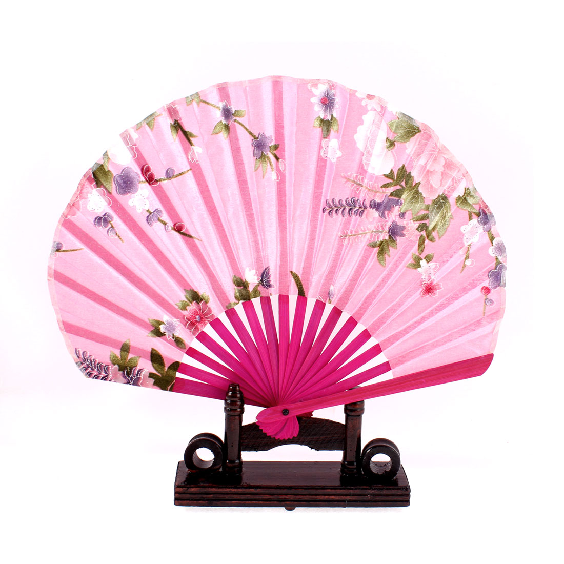 Chinese Bamboo Wood Lavender Pattern Folding Hand Fan w Display Holder