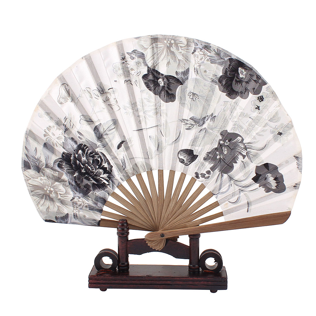 Bamboo Chinese Paiting Floral Folding Hand Fan Black White w Display Base