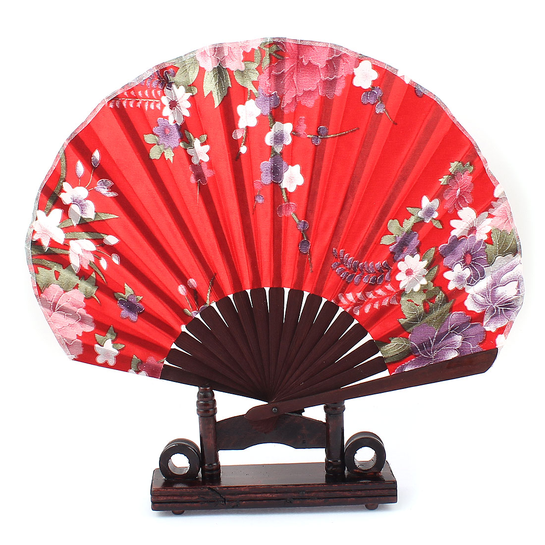 Chinese Wedding Party Foral Wood Folding Hand Fan Coffee Color Red w Holder